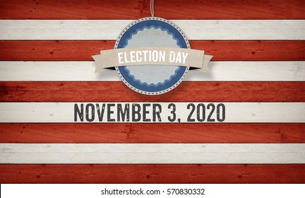 November 3, 2020 election date with US American flag concept background