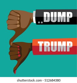 NOVEMBER 9, 2016: Illustrative editorial cartoon of saying Dump Trump with thumbs down.