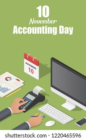 November accounting day concept background. Isometric illustration of november accounting day concept background for web design