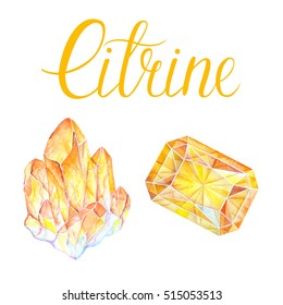 November birthstone Citrine isolated on white background. Close up illustration of healing crystals drawn by hand with watercolor.