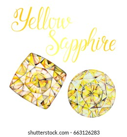November birthstone Yellow Sapphire isolated on white background. Hand painted illustration of faceted gems drawn with colored pencils. Realistic stone and mineral crystal with lettering