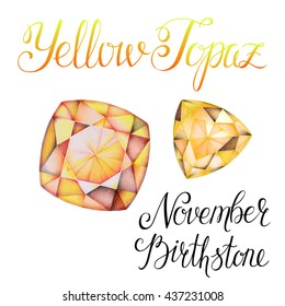 November birthstone Yellow Topaz isolated on white background. Close up illustration of gems drawn by hand with colored pencils. Realistic faceted stones.