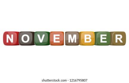November - calendar month wide banner with colored cubes on white background 3D rendering