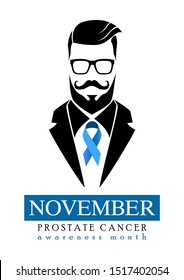 November is prostate cancer awareness month. Awareness of men's health. Mustache and blue ribbons background for prostate cancer awareness.