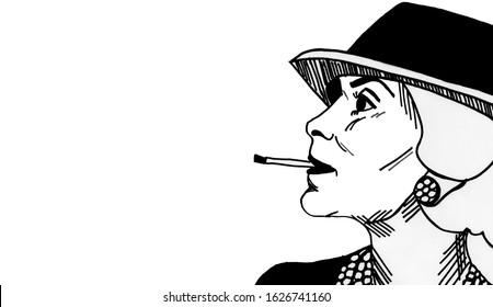 Novi Sad, Serbia, 01.09.2020.- hand drawing portrait of Coco Chanel, french fashion designer, Black and white illustration, caricature, cartoon.