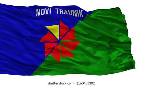 Novi Travnik City Flag, Country Bosnia Herzegovina, Isolated On White Background