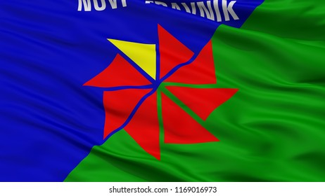 Novi Travnik City Flag, Country Bosnia Herzegovina, Closeup View, 3D Rendering