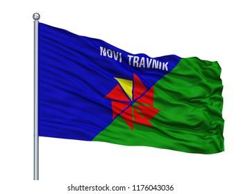 Novi Travnik City Flag On Flagpole, Country Bosnia Herzegovina, Isolated On White Background, 3D Rendering