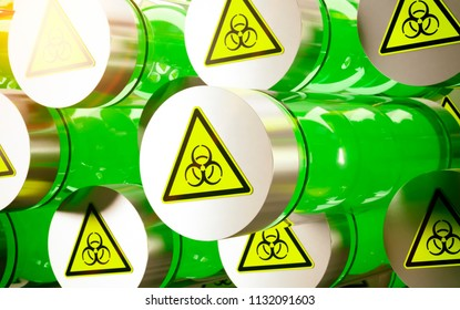 novichok pile of chemical warfare agents  in metal glass canister  3D illustration
