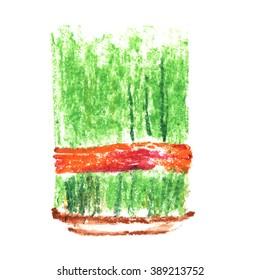 Novruz bayrami.  Azerbaijan Nowruz holiday (Nouruz). Persian New Year. Spring. Watercolor Semeni (green sprouting wheat).