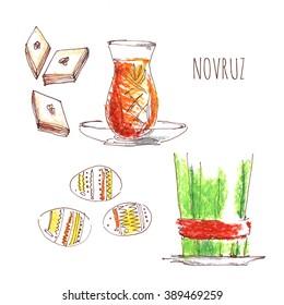 Novruz bayrami. Azerbaijan Nowruz holiday (Navruz). Persian New Year. Spring. Watercolor Semeni (green sprouting wheat).