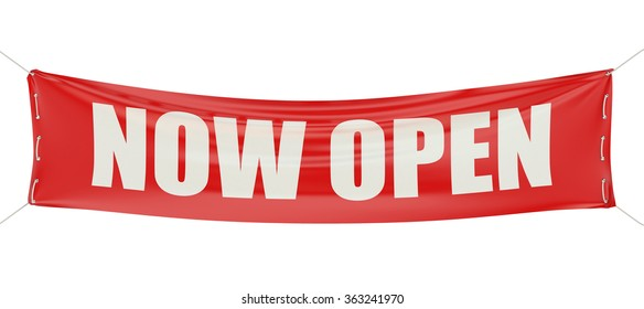 Now Open concept on the red banner