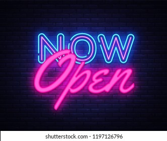 Now Open neon text design template. Now Open neon logo, light banner design element colorful modern design trend, night bright advertising, bright sign. illustration.