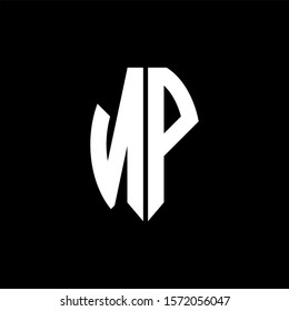 NP logo monogram designs template isolated on black background