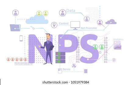 NPS concept, illustration, isolated on white background. Net Promoter Score. Raster version.