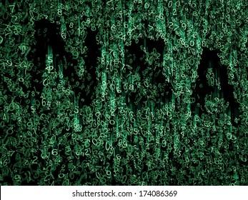 NSA data code in green