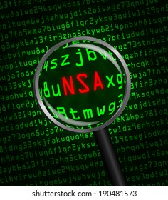 """""""NSA"""" in red letter revealed in green computer machine code through a magnifying glass. Dark background. NSA stands for the National Security Agency."""