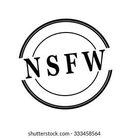 NSFW black stamp text on circle on white background