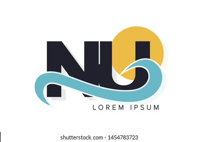 NU letter logo with ocean waves and sunset. Beach concept design
