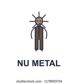 nu metal musician icon. Element of music style icon for mobile concept and web apps. Colored nu metal music style icon can be used for web and mobile on white background