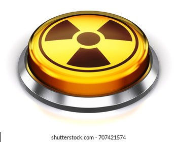 Nuclear or atomic energy and military bomb launch and nuke war concept: 3D render of yellow round button with poison radioactive nuclear radiation symbol isolated on white background with reflection