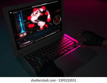 Nuclear attack, missile attack, sabotage, atomic weapons. Explosion of nuclear charges. Armed group. Computer hackers. 3d rendering. Computer and map of the world with missile explosions. HUD.