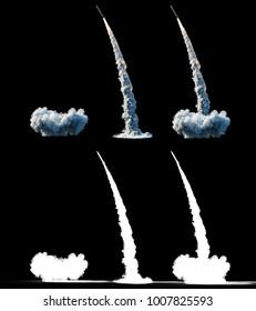 Nuclear ballistic rocket, complex. Launch rocket, dust. Isolate. 3d rendering.