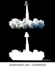 Nuclear ballistic rocket, complex. Launch rocket, dust. Isolate. 3d rendering.