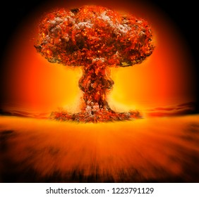 Nuclear Bomb Explosion 3d Illustration