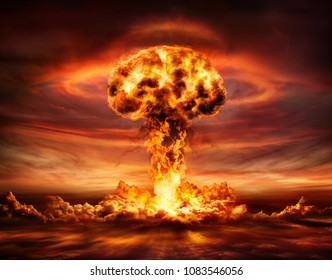 Nuclear Bomb Explosion -  Mushroom Cloud - 3d Illustration