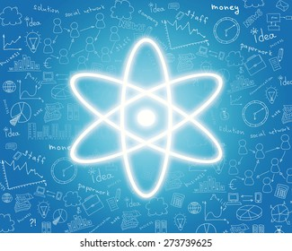 Nuclear energy icon on abstract blue background