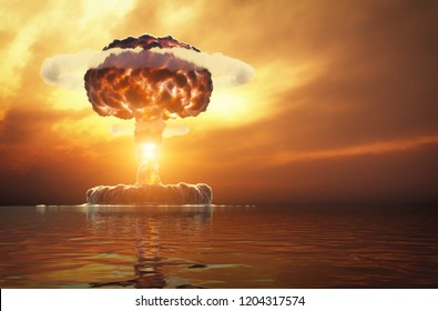 nuclear explosion over the water. 3d illustration