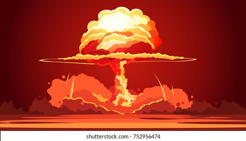 Nuclear explosion rising orange fireball of atomic mushroom cloud in desert weapon test retro cartoon poster  illustration