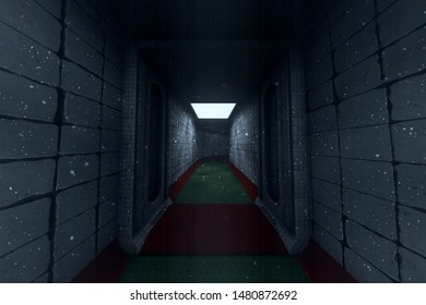 Nuclear Fallout Underground Shelter Corridor Sytem 3D Illustration