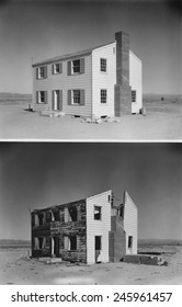 Nuclear 'Operation Cue' tested buildings' ability to survive atomic bombs. Before and after photos of a two-story wood frame house 5,500 feet from ground zero. April 4, 1955.