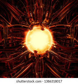 The nuclear pod / 3D illustration of science fiction scene showing fiery glowing hot energy core inside complex futuristic machinery