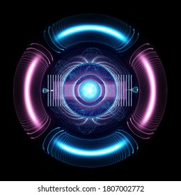 Nuclear Power Concept. Entangled Magnetic Waves Around A Core With Particles Producing High Energy Discharge, 3d rendering
