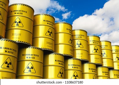 Nuclear power fuel manufacturing, disposal and utilization industry concept: 3D render of the stacked yellow metal barrels, drums or containers with poison dangerous hazardous radioactive materials