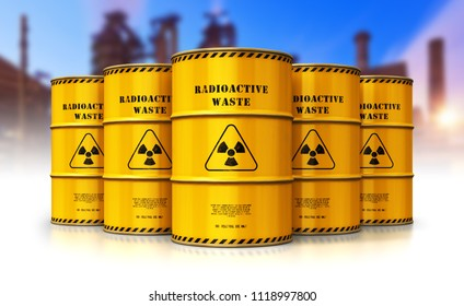 Nuclear power fuel manufacturing, disposal and utilization industry concept: 3D render of barrels drums containers with poison dangerous hazardous radioactive materials in front of nuclear power plant