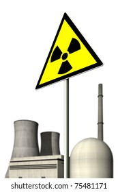 Nuclear power plant behind a warning sign for radioactivity against a white background