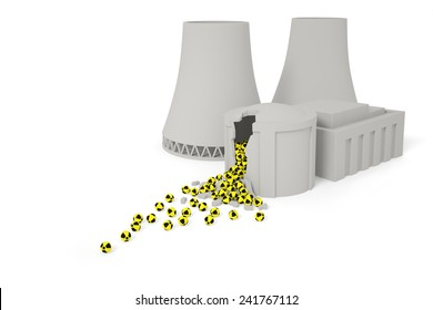 Nuclear power plant (station) ecology radiation catastrophe concept: radioactive elements drop out of the destroyed nuclear reactor as a result of explosion (accident)