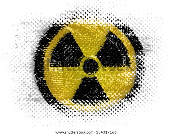 Nuclear radiation symbol painted on on dotted surface