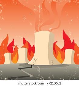 Nuclear Threat/ Illustration of nuclear reactor failure