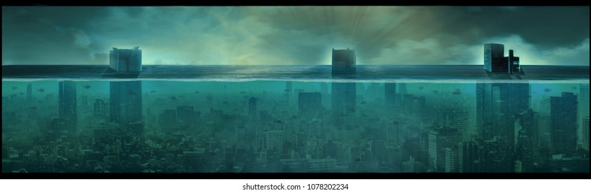 Nuclear underwater city, apocalyptic landscape, digital art