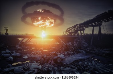 nuclear war disaster landscape. 3d concept illustration