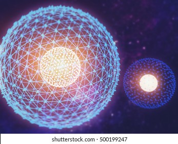 Nucleus of Atom Nuclear explode ray radiation light science 3D Illustration abstract blur background.
