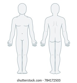 Nude male body front and back view. Blank man body template for medical infographic. Isolated illustration.
