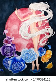Nude woman with white long hair lean on a red moon in the night decorated by colorul flowers