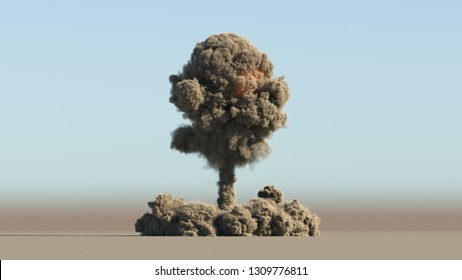 Nuke explosion 3d illustration