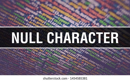 Null character text written on Programming code abstract technology background of software developer and Computer script. Null character concept of code on computer monitor. Coding Null character